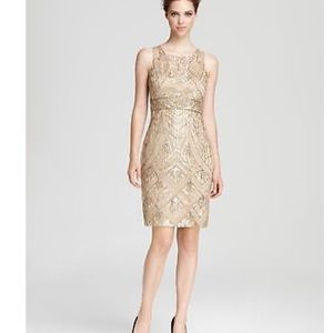 Sue Wong gold gatsby cocktail dress